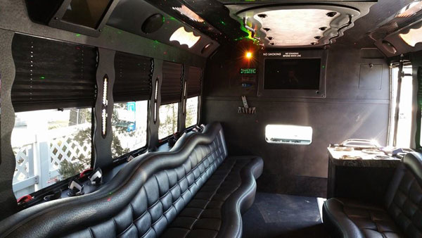 26 passenger black limo bus interior