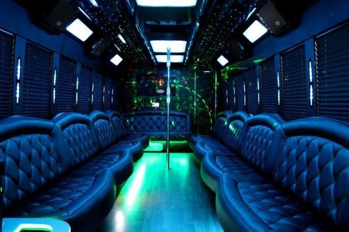 32 passenger limo bus interior